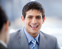 Positive businessman in a meeting Stock Photo