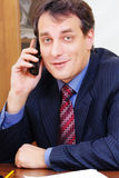 Positive businessman on phone Royalty Free Stock Images