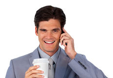 Positive businessman on phone Royalty Free Stock Photography