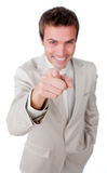 Positive businessman pointing at the camera Royalty Free Stock Photography