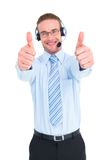 Positive businessman smiling with thumbs up Stock Photography