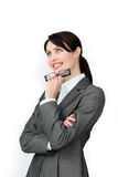 Positive businesswoman holding glasses Stock Images