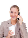Positive businesswoman on phone Stock Photography