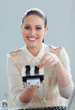 Positive businesswoman searching for the index Stock Image