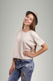 Positive casual woman posing. Emotional girl portrait. Young fem Stock Photography