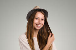 Positive casual woman posing. Emotional girl portrait. Young fem Stock Image