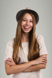 Positive casual woman posing. Emotional girl portrait. Young fem Royalty Free Stock Images