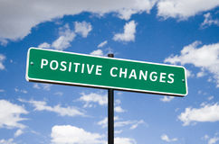 Positive Changes street sign concept. Photorealistic 3D sky-high street sign concept, reading Positive changes going down the right road royalty free stock image