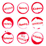 Positive Character Traits collection of round. Royalty Free Stock Photos