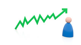 Positive chart line with person Royalty Free Stock Image