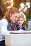 Beautiful positive mother and child stock image