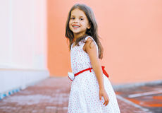 Positive child in the city. Positive smiling child in the city Stock Photography