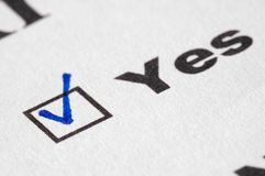 Positive choice (yes). Positive choice in the test (yes checked royalty free stock images