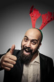 Positive christmas bearded man Stock Photography