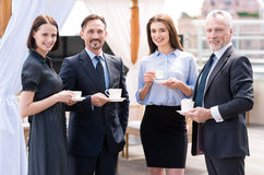 Positive colleagues drinking coffee Royalty Free Stock Photo