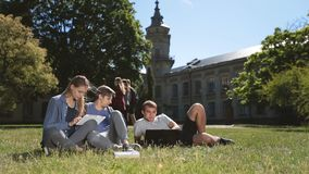 Positive college students studying on campus lawn. Three teenage hipster friends studying on campus lawn, using laptop and digital tablet pc while sitting on stock footage
