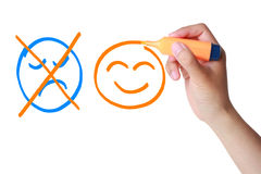 Positive concept (smile, no sad) Stock Image