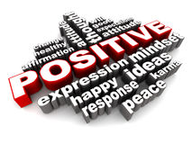 Positive concept. Positive words collection on white, words that relate to a positive attitude and expression Stock Photo