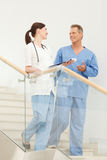 Positive and confident. Hospital colleagues talking to each othe Royalty Free Stock Photography
