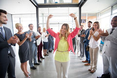 Positive confident leader congratulations employer. Applauding royalty free stock photography