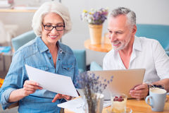 Positive couple discussing project Stock Images