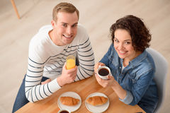 Positive couple having  a meal Stock Photography