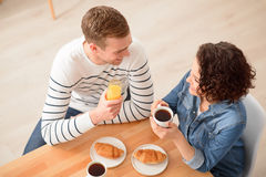 Positive couple having  a meal Stock Photo