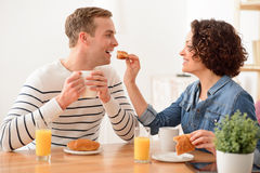 Positive couple having a meal. Tasty meal. Cheerful content smiling couple sitting at the table and expressing gladness while having a breakfast stock photo