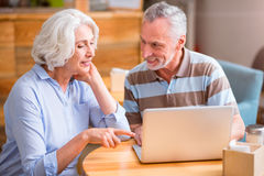 Positive couple using laptop Stock Images