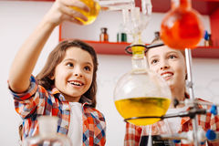 Positive curious girls experimenting. Chemistry club. Positive curious cheerful girls standing together and holding chemical flasks while experimenting in the Royalty Free Stock Photography