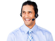 Positive customer service agent with headset on Stock Photography