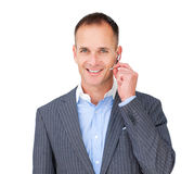 Positive Customer service agent using headset Stock Photos