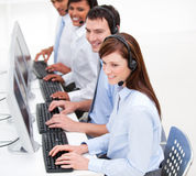 Positive customer service agents at work Stock Images