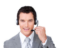 Positive customer service representative. Using headset isolated on a white background Royalty Free Stock Image