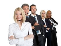 Positive customer service representatives on white Royalty Free Stock Photography
