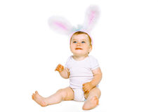 Positive cute baby in costume easter bunny Stock Image