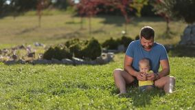 Positive dad playing with cute infant boy on grass stock footage