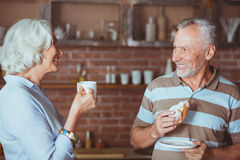 Positive delighted couple standing in the kitchen Stock Photography