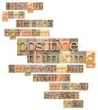 Positive denkende Wortwolke Stockbild