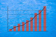 Positive earning chart. With image of blue water in background Stock Photo