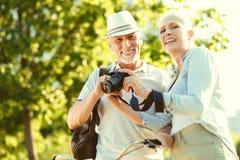Positive elderly couple having a walk royalty free stock image
