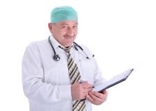 Positive elderly male doctor in characteristic clo Royalty Free Stock Photography
