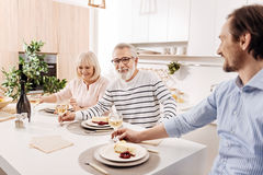 Positive elderly parents enjoying weekend with son at home Stock Images