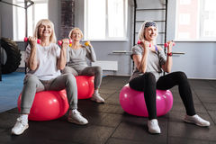 Positive elderly women holding dumbbells. Build up your body. Positive happy elderly women sitting on fitness balls and lifting dumbbells while building up their Stock Images