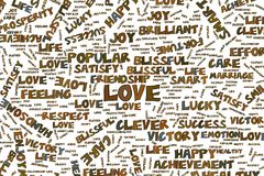The positive emotion word cloud illustrations background abstract, hand drawn. Hand-drawn, digital, words & concept. The positive emotion word cloud vector illustration