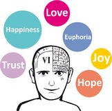Positive emotions. A psychology model and emotions Royalty Free Stock Photo
