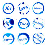 Positive Emotions collection of round watercolor. Royalty Free Stock Image