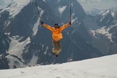 Positive emotions in mountains Royalty Free Stock Photography