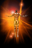 Positive Energy. Chrome man figure on abstract energy background Stock Photography