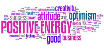 Positive energy. Word cloud. Good thinking for life success Royalty Free Stock Photos